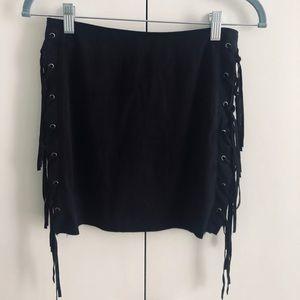Forever 21 Black Fringe Mini Skirt